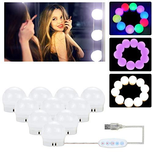 Led Spiegelleuchte,JUSONEY Hollywood Stil LED Schminktisch Spiegel Lichter mit 10 Dimmbaren Glühbirnen 6500K Make Up Licht für Schminklicht, Spiegellampe, Make-up,Schminktisch Leuchte