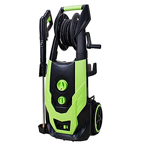 Workmoto Brushless Induction Motor Power Washer with Hose Reel, Electric Pressure Washer with 5 Universal Spray Nozzles and Detergent Tank, Pressure Cleaner - 5200 PSI 4.2 GPM