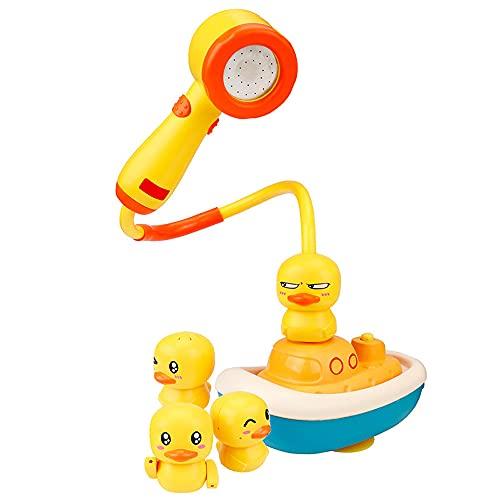 Chilits Juguetes de baño de bebé lindo pato eléctrico agua spray bañera juguetes cabeza de ducha juguetes flotantes bañera juegos agua rociador con 3 aspersores para bebés niños pequeños 18 meses +
