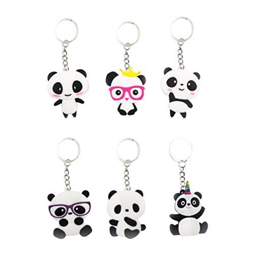 NUOBESTY Panda Schlüsselanhänger Tierschlüsselanhänger PVC-Geldbeutel keychain hängende Verzierung für Junge Kinder Mädchen 6 Stück