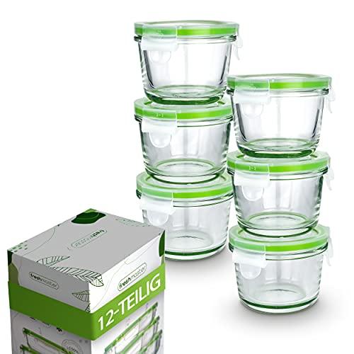 Fresh Master Set di contenitori salvafreschezza, 100% a prova di perdite e ermetici, con coperchio, contenitori in vetro (12 pezzi mini rotondi)
