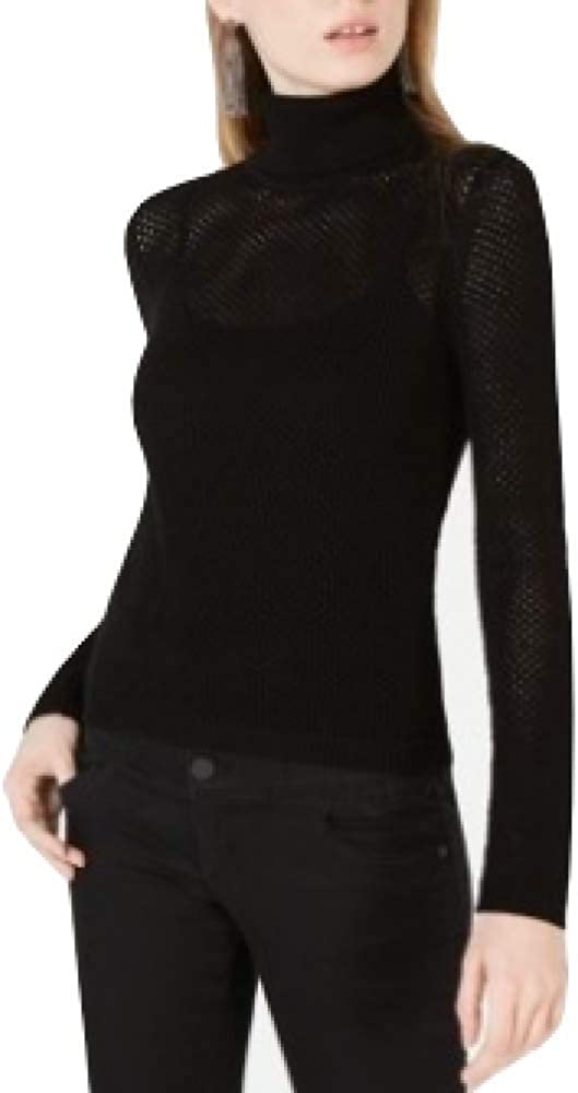 Bar Iii Perforated Pullover Turtleneck Sweater Black Size XL