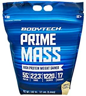 BodyTech Prime Mass High Proetin Weight Gainer with 55 Grams of Protein per Serving to Support Muscle Growth Performance B...