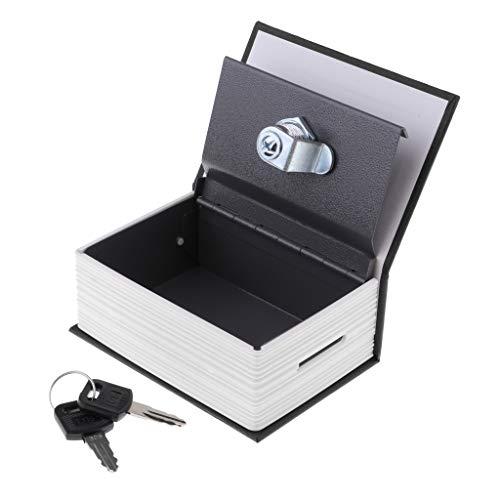 Caja Fuerte con Forma de Libro de Verdad Candado Acero Inoxidable Portátil Seguridad Joyas - Negro
