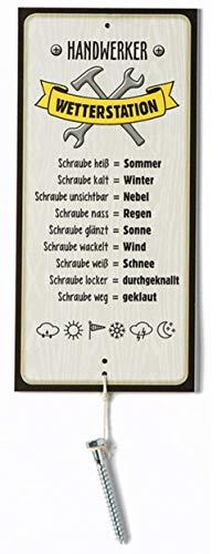 G.H. Wetterstein, Wetterstation als Aluschild, Modell Handwerker mit Schraube, Material Metall, Maße Schild 30 x 14 cm (ohne Schraube)
