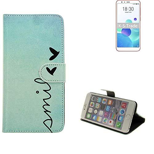 K-S-Trade® 360° Funda Smartphone para Meizu M8c, Smile' | Wallet Case Flip Cover Caja Bolsa Caso Monedero BookStyle
