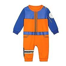 Body manga bebé | Pijama para niño y niña Anime Kawaii | Traje de disfraz 100% algodón, Naruto., 3-6 Meses