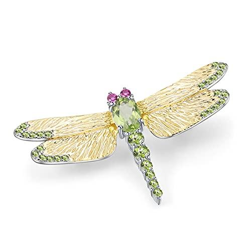 hcma Spilla in Pietra preziosa peridoto Verde Naturale da 1,13 ct Spille a Forma di Libellula Fatte a Mano in Argento Sterling 925 per Abiti da Donna