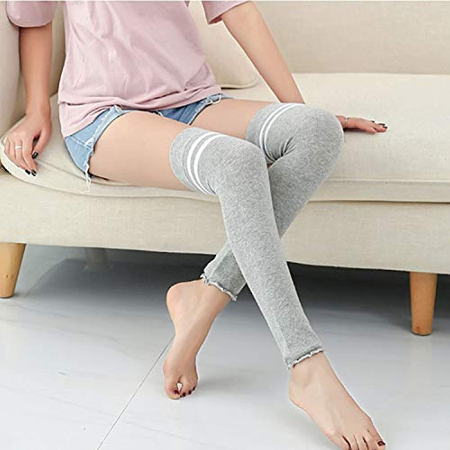 Comfortable Arm Warmer Leg Stocking HOME Japanese college wind spring and summer combed cotton long tube socks over the knee piled up socks air conditioning warm outdoor sports students (color   Grey)