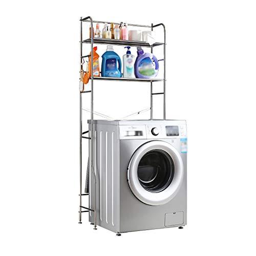 Waschmaschine Regal 2-stöckiges Abstellregal für Badezimmer und Badezimmerausstattung für Waschmaschine, Abstellregal für Badezimmer aus Edelstahl, Abstellregal für Waschmaschine mit Bodenbefestigung