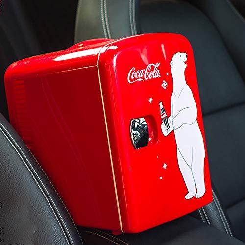 Coca-Cola Nevera Coche, Mini Nevera Refrigerador Coche Enfriador Y Calentador 12VDC/240VAC Enchufes Incluidos Ideal para Dormitorio Oficina Medicamentos para El Cuidado La Piel