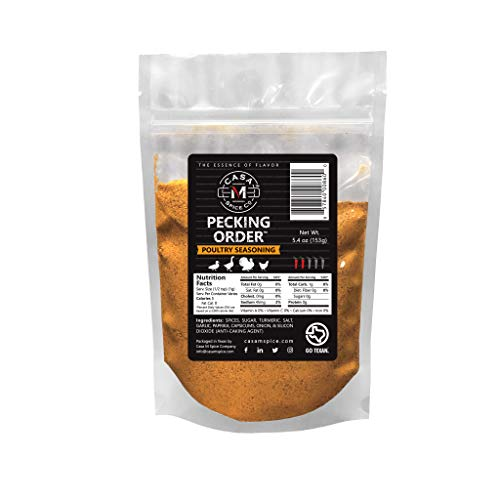 Casa M Spice Co Pecking Order Poultry Seasoning • Very Low Sodium • No MSG • Gluten Free • Keto-Friendly • BBQ Spices— 1 Cup of Gourmet Dry Rub in a Plastic Refill Bag