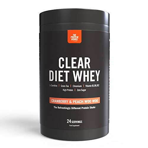 Clear Diet Whey Isolate Protein | Refreshing Drink | Sugar Free & Zero Fat | Energising Vitamins | Cranberry & Peach Woo Woo | THE PROTEIN WORKS | 24 Servings