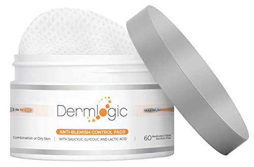Anti-Blemish Control Pads- Contains Salicylic, Glycolic, & Lactic Acid for Face & Body. Clears Away Clogged Pores, Oily Skin & Cystic Breakouts. Removes Dark Spots, Blackhead & Whitehead Pimples