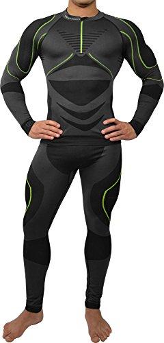 Polar Husky® Sport Funktionswäsche Herren Set (Hemd + Hose) Seamless, Thermo- & Funktionswäsche Farbe Schwarz/Grün Größe S/M