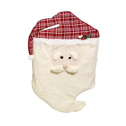 FFSMCQ Creatieve Mode Kerstmis Wit Warm Stoel Set Stof Vilt Leuke Cartoon Kerstman Stoel Set Creatieve Decoratie Nieuwjaar Gift