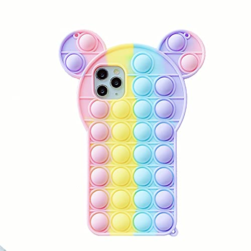 Relive Stress Pop Fidget Juguetes Conejo Oreja Gato Juguete Push It Bubble Funda de silicona para teléfono 6 6S 7 8 Plus X XR XS 11 12 Pro Max Cubierta suave (para iPhone 6 6S, Minnie)