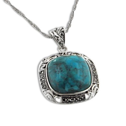 Art Deco Squared Natural Turquoise and Marcasite Sterling Silver Pendant 18