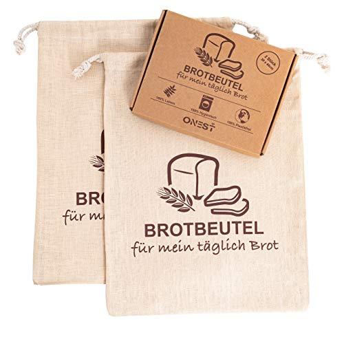 ONEST Brotbeutel (2er Set) - Praktischer Beutel aus 100% Natur Leinen inkl. E-Book - Zur platzsparenden Brotaufbewahrung (30 x 40cm)