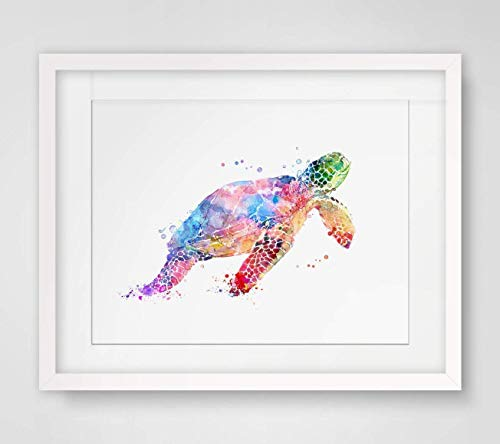 Sea Turtle Watercolor Art Print Wall Art Poster Inspiration Watercolor Painting Colorful Sea Turtle Art Paper Home Decor Marine Life 8x10 inch No Frame