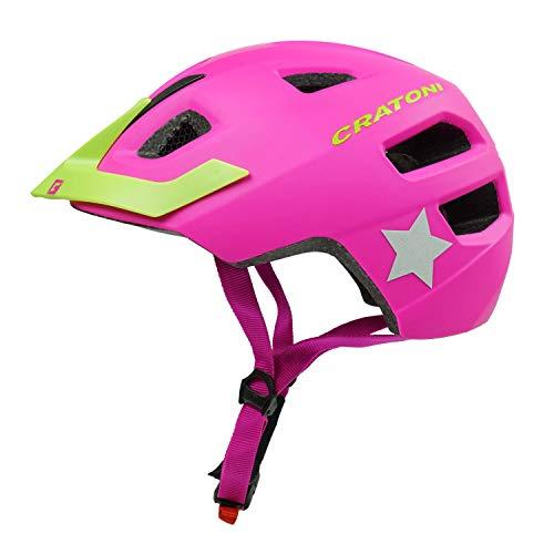 Cratoni Kinderfahrradhelm Maxster Pro, pink-Lime - Reflektor, Gr. S-M (51-56 cm)