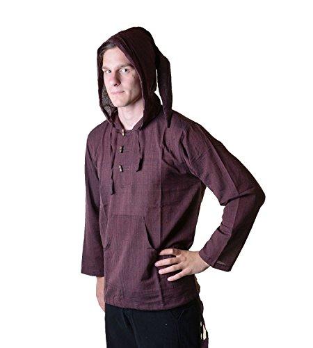 KUNST UND MAGIE Nepal Fischerhemd Kurtha Einfarbig Hemd Poncho Mittelalter mit Zipfelkapuze, Größe/Size:3XL;Farbe:Braun