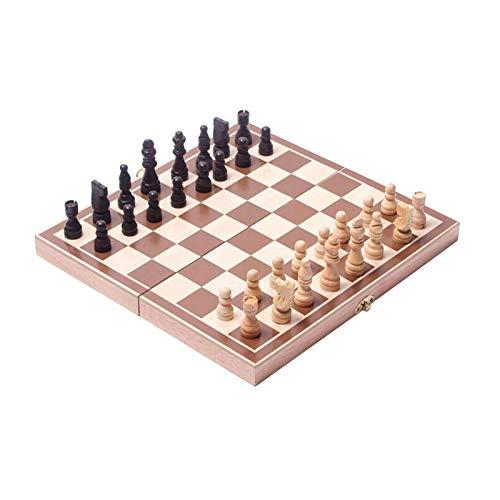 Schachspiel aus Holz, Lernspiel für Schach auf Reisen, 30 x 15 x 3,45 cm
