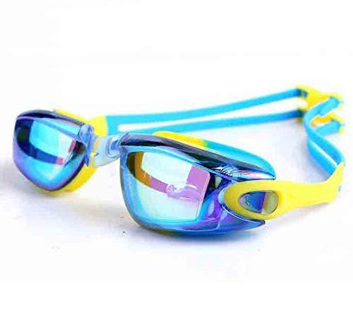XLEIQUISHJ Gafas De Natación Chapado Mixto Amarillo Y Azul para Hombres Y Mujeres para Comodas Protección UV Hombre Elite Arena Cobra Speedo Aqua Sphere Silicona