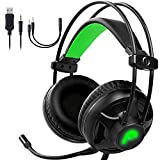 Fosmon Gaming Headset with Microphone & Volume Control, 3D Surround Strong Bass Over Ear Headphone...