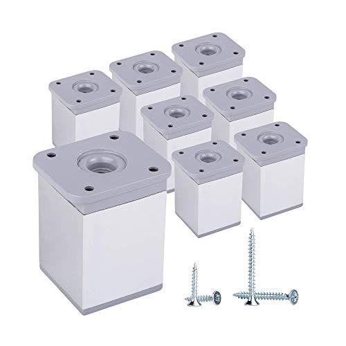 (Paquete de 8 piezas) Patas de muebles de altura ajustable Perfil angular: 40 x 40 mm, Materiales: Plástico, Aluminio, Tornillos incluidos (8, 6 cm de altura)