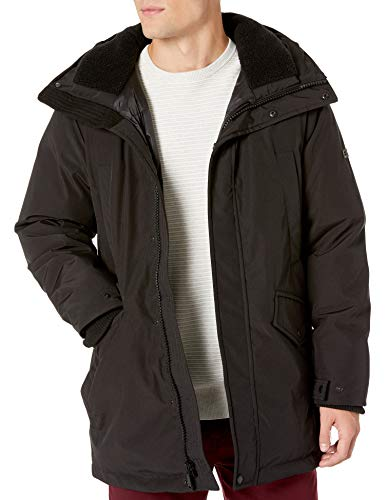 Vince Camuto Men's Bomber Jacket with Faux-Fur Trimmed Hood, Very Black, X-Large