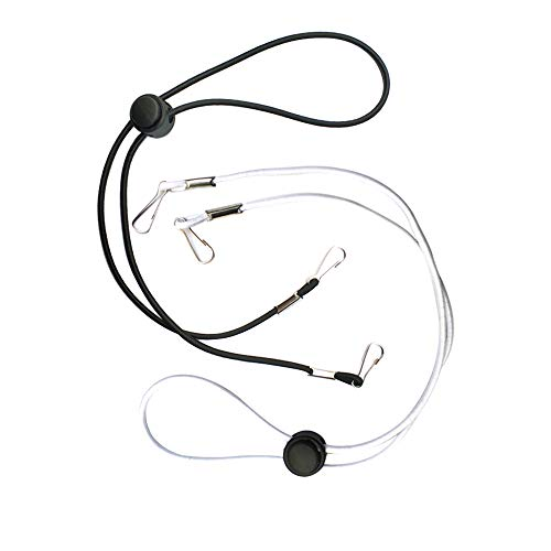 2 Pcs Adjustable Lanyard,Chain Straps Anti-Slip Elastic Ear Extension Earloop Cord Extender Face Covering Glasses Holder Suitable for Kids Adults Comfortable Around The Neck.(Black,White)