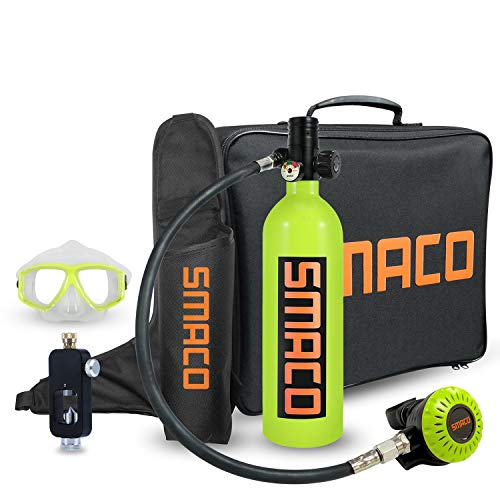 Scuba Tank for Diving Oxygen Tank for Breathing Underwater Device Dive Equipment Support 15-20 Minutes(340 Breathe Times) Mini Scuba Tank with Pump Scuba Diving Accessories S400+ Packages C, Green