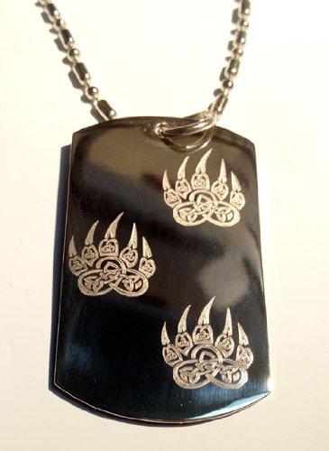 Celtic Knot Weave Irish Bear PAW Walking Logo Symbols - Military Dog Tag Luggage Tag Key Chain Keychain Metal Chain Necklace