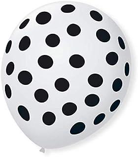 Balão Decorado, São Roque, Nº 09, Bolinhas, Branco e Preto, Pacote com 25