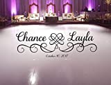 Susie85Electra Wedding Dance Floor Decal Hearts with Swirls Scroll Frame Fancy Calligraphy Font Personalized Names Vinyl Lettering