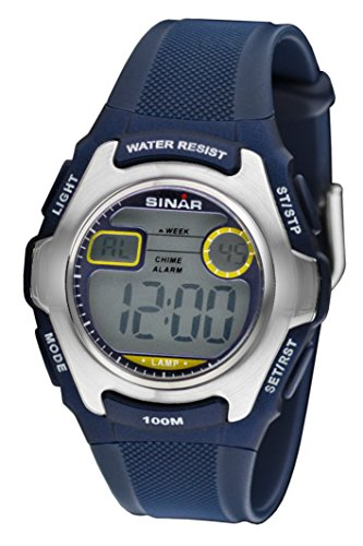 SINAR Jugenduhr Sportuhr Outdoor digital Quarz blau Silber 10 bar wasserdicht Licht XE-50-2