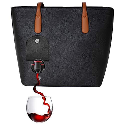 PortoVino Bolso de Vino Clásico (Negro) - Monedero de Moda con Compartimiento Aislado y Oculto - ¡Tiene 2 Botellas de Vino en una Bolsa extraíble!