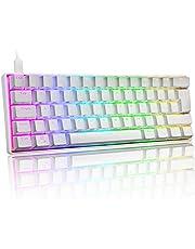 UK Layout 60% Mechanisch Gaming Toetsenbord Type C Bedraad 61 Toetsen LED Backlit USB Waterdicht Toetsenbord 14 Chroma RGB Backlight Volledige Anti-ghosting Toetsen (Wit / Rode Schakelaar)