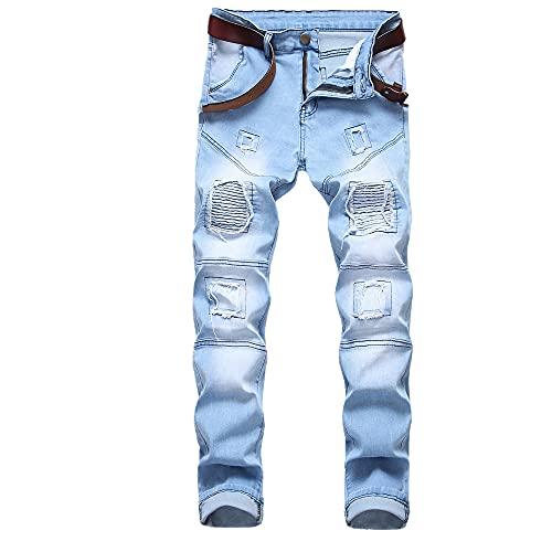 Men's Elastic Black Jeans Motorcycle Miscellaneous Splicing Men's Jeans