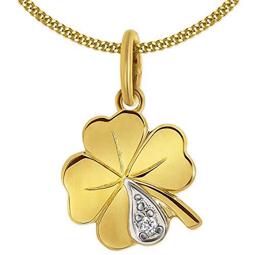 Clever Schmuck Gouden zeer kleine meisjeshanger 10 mm 4-blaadjes mini klaverblad bicolor met zirkonia glanzend 333 goud 8 karaat met vergulde ketting pantser 38 cm