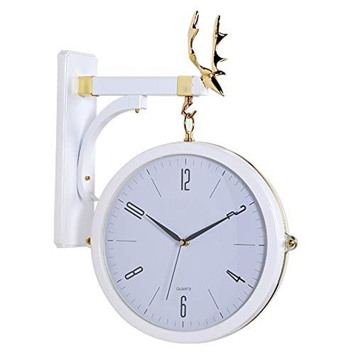 BUNXT Nórdico de Doble Cara Moderno Minimalista Luz atmosférica Reloj de Pared del Reloj de Moda de la Sala Principal de la Personalidad Creativa Pared del Cuarzo del Reloj de Bell Silencio Ho