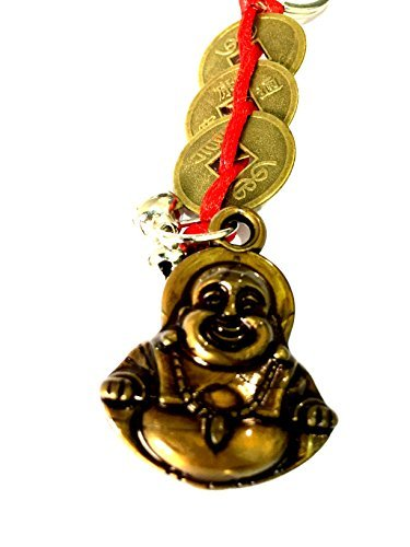 DevDeep Chrismas Special Fengshui Red Chinese Knot 3 Coins with Laughing Budha Key Ring/Key Chain/Tassel Bring The 3 Heavenly Blessings to Your Home.