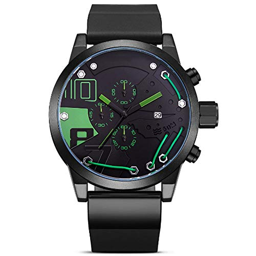 REIUYTHO Relojes mecánicos for los Hombres, cronógrafo Multifuncional, Deportes Reloj, Pulsera, Impermeable del Acero Negro La Banda de Silicona de Lujo del dial de Steampunk Reloj de Pulsera