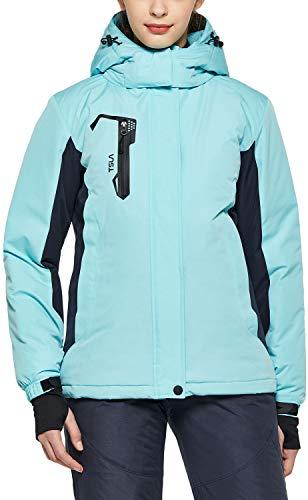 TSLA - chamarra de esquí para mujer, impermeable, cortavientos y nieve, Bloque de color(xkj70) - menta, X-large