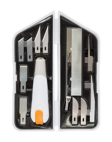 Fiskars Hochleistungsmesser/-Cutter, 8-teiliges Set, Gesamtlänge: 21 cm, Inkl. 7 Klingen, Qualitätsstahl/Kunststoff, Weiß/Orange, Premium, 1024385