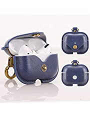 Feitenn Leather Case for AirPods Pro, 3D Portable Leather Shockproof Earphone Earbuds Cover Cute Skin Wireless Charging Carrying Case with Keychain Keyring for Apple AirPods Pro 3rd Gen 2019 (Blue)