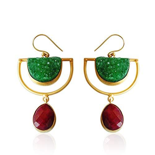 Pendientes chapados en oro de 18 quilates, cuarzo verde drusa y rubí corindón, pendientes de diseño de media luna, elegantes pendientes, pendientes colgantes de gancho