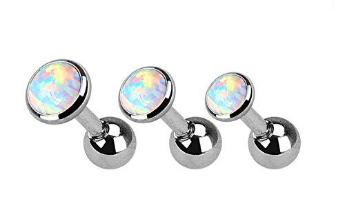 Kultpiercing - 3er Set - Helix Piercing Stab Fancy Opal - Tragus Piercing-Stecker Barbell 3-5 mm - Weiß