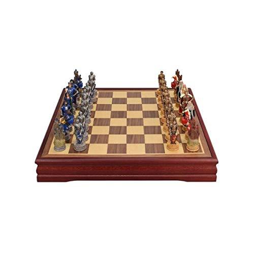 MJS Schach, Internationales Schach, Massivholzbrett, Kunstharzfigur, Collection (Farbe : Brown, Größe : Storage-a)